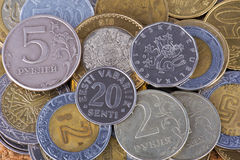 Coins from different countries Stock Photo