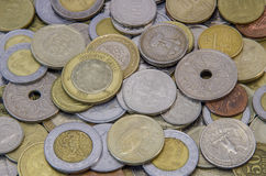 Coins of different countries Stock Images