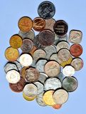 Coins of different countries put together Royalty Free Stock Photo