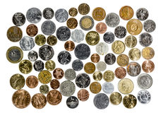 Coins of different countries of the world Stock Photos