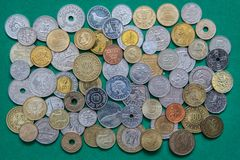 Coins of different countries of the world Royalty Free Stock Photo