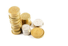 Coins of different denominations . Royalty Free Stock Photos