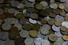 Coins of different denominations. Russian money of different denominations, many Royalty Free Stock Images