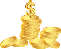 Coins with dollar Royalty Free Stock Photos