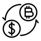 Coins of dollar and bitcoin with arrows line icon. Dollar and bitcoin exchange vector illustration isolated on white royalty free stock image