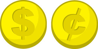 Coins Dollar Cent Symbol. Gold coins with dollar and cent symbols Royalty Free Stock Image