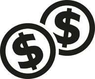 Coins with dollar sign. Vector Stock Image