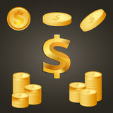 Coins and dollar sign gold color Stock Images