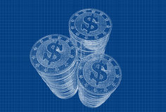 Coins with Dollar symbol Royalty Free Stock Photo