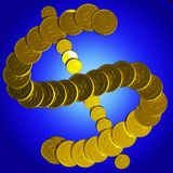 Coins Dollar Symbol Shows American Market Royalty Free Stock Photo
