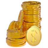 Coins dollars money. Gold dollars coins as a symbol of microcredit in banks Stock Image