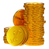 Coins dollars money. Gold dollars coins as a symbol of microcredit in banks Royalty Free Stock Images