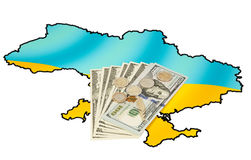 Coins and dollars on ukrainian map Royalty Free Stock Photos