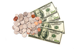 Coins And Dollars XXXL Isolated Stock Image