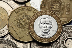 Coins of the Dominican Republic. Dominican national hero Francisco del Rosario Sanchez depicted in the Dominican five peso coin Royalty Free Stock Image