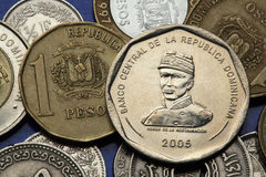Coins of the Dominican Republic. Dominican national hero Gregorio Luperon depicted in the Dominican 25 peso coin Stock Images