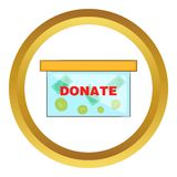 Coins in donate box vector icon Royalty Free Stock Image