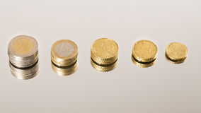 Coins Economy. On mirror background Stock Image