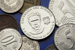 Coins of Ecuador Royalty Free Stock Photography