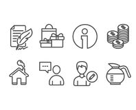Coins, Edit person and Shopping icons. Users chat, Feather signature and Coffeepot signs. Set of Coins, Edit person and Shopping icons. Users chat, Feather Stock Photos
