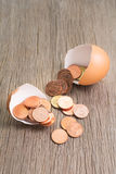 Coins in the egg. Business concept Royalty Free Stock Image