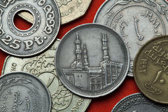 Coins of Egypt. Al-Azhar Mosque in Cairo depicted in the Egyptian 20 piastre (qirsh) coin from 1992 royalty free stock photography