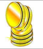 coins en-guld som skiner Royaltyfria Bilder