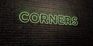 COINS - enseigne au néon réaliste sur le fond de mur de briques - image courante gratuite de redevance rendue par 3D illustration libre de droits