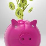 Coins Entering Piggybank Showing European Deposit Stock Image