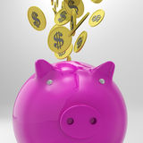 Coins Entering Piggybank Shows American Wealth Royalty Free Stock Images