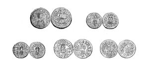 Coins of Ermengild and other Visigothic kings VI century Royalty Free Stock Photo