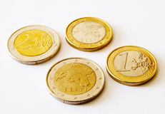 Coins of Estonia. One and two euro Stock Images