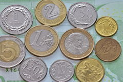 Coins EUR and PLN Royalty Free Stock Photos