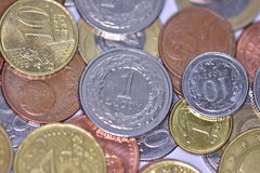 Coins EUR and PLN Royalty Free Stock Images