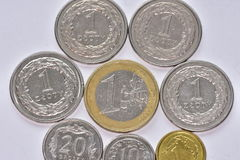 Coins EUR and PLN Stock Photography
