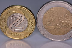 Coins EUR and PLN Stock Photo
