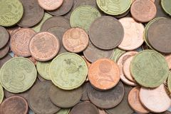 Coins of euro cent of little value seen from above stock photography