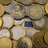 Coins euro cents are on a paper bill of fifty euros.  Euro money. Currency of the European Union Royalty Free Stock Photo
