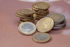 coins euro royaltyfria bilder