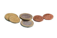 Coins, the euro, money, isolate Stock Photography