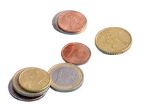 Coins, the euro, money, isolate Royalty Free Stock Images