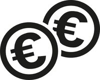 Coins with euro signs. Vector royalty free illustration