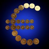 Coins euro symbol. On blue gradient royalty free stock images