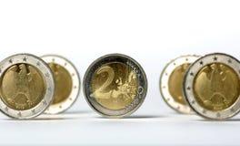 coins euro två Royaltyfri Bild