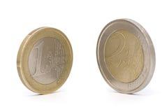 coins euro två Arkivfoto