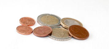 coins europeanen Royaltyfri Fotografi