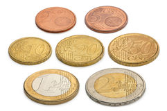 Coins of euros and eurocents isolated on a white background Stock Photos
