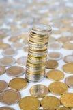 coins eurostapeln Arkivfoto