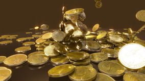 Coins Fall in slow motion stock video footage