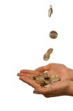 Coins fall in to the girl hands. Isolate on white Stock Photos